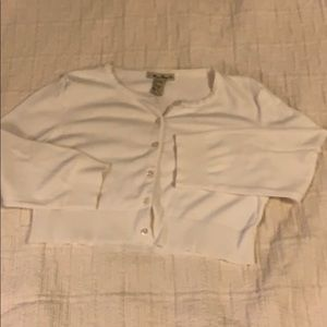 FOREVER 21 S Cropped ivory buttoned down sweater